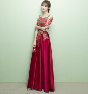 Long-sleeved Embroidery Engagement Banquet Evening Dress
