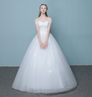 New style word wedding dress 2020 new Korean bride married slender tail neat factory direct sales