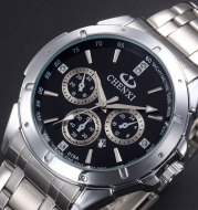 The factory sells the Korean style steel top grade calendar, the business fully automatic mechanical watch, the waterproof men's watch 019A calendar