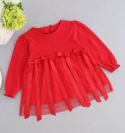 On behalf of a baby red bow princess skirt dress dress full hundred days of age