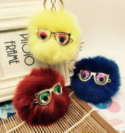South Korea fur ball bag pendant accessories cute littlerabbit hair glasses car key fur Pendant