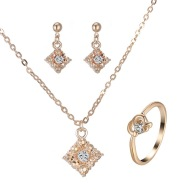 Diamond necklace, earring, ring, lady jewelry, square bridal jewelry set wholesale