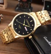 Manufacturers wholesale authentic fashion non mechanical watch waterproof Mens double luminous strip golden watch 073A calendar
