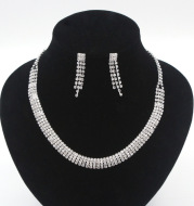 New European and American popular multi layer necklace, earring set chain, bride 2 sets of silver plated diamond wedding dinner set