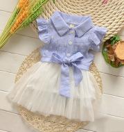 Children's clothing wholesale trade 2021 summer cotton short sleeved dress Korean girls section baby princess dress.