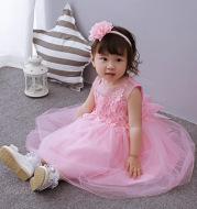Baby's wedding dress, girl's full moon dress, baby dress, Princess Wedding dress, pink and fluffy dress