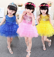 61 61 children dance performance dress girl sequins princess dress, summer baby performance skirt
