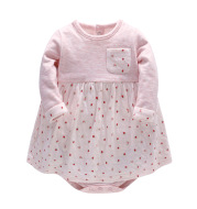 The new baby ha nubao spring skirt long sleeved double-layer cotton Jumpsuit skirt dress newborn bag fart