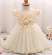 New flower lace baby skirt, baby baby bright pearl children's dress, European and American children's dress wholesale