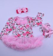 Taobao wholesale baby long sleeve climbing suit, foreign trade fashion baby dress suite, custom made children's ha dress