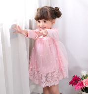 The children wear long sleeved dress baby princess skirt gauze Chun 1-3 years old female baby dress a generation
