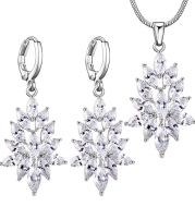 Manufacturers selling Korean jewelry ladies ladies temperament zircon crystal bride necklace earrings set two piece
