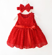 New summer dress lace dress baby girls under the age of one hundred days full moon princess dress factory direct