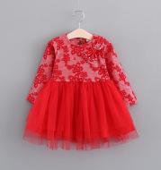 In the autumn of 2021 New Girls Princess dress children skirt pearl ribbon gauze long sleeved bottoming baby skirt
