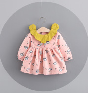 Autumn children's skirt, Korean girl cartoon bird dress, autumn baby baby skirt 510