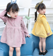 A generation of female children autumn damp skirt 2020 NEW GIRLS INFANT corduroy long sleeved dress skirt