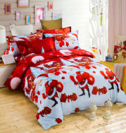 3D foreign trade home textile fast selling Amazon, foreign trade hot Santa Claus Christmas gifts bedding four sets
