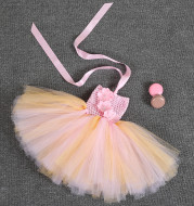 Foreign trade supply infant skirt, Amazon burst dress, pink fluffy skirt Baby Dress