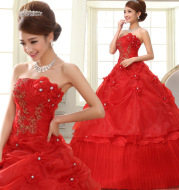 2020 new big red lace embroidered slim large size wedding bridal wedding dress
