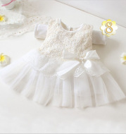 The new summer girl infant baby princess gauze sleeveless bowknot dress multicolor optional small code