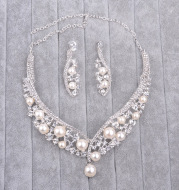 Multi color Korean pearls, Bridal Necklace, earrings set, wedding accessories to support spot mixed batch