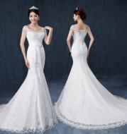 Fishtail wedding bride wedding dress one word shoulder slim slimming small trailing studio wedding dress