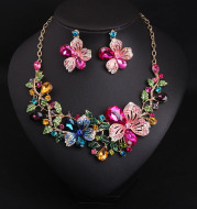 Europe and America luxury color flower crystal drill short clavicle Necklace Earrings Set women bride dinner dress ornaments
