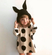 17 spring ins explosion, baby cotton double-sided cloth, lovely polka dot dress, female baby out skirt