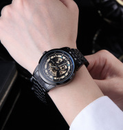 When men watch genuine Quirrell large dial gauge automatic mechanical double-sided hollow waterproof luminous watch men
