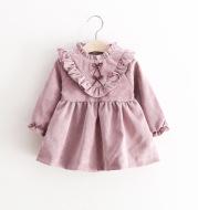 Children's wear 2020 spring new V-neck corduroy girls dresses