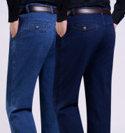 Spring and autumn in the old men's jeans wholesale in the elderly loose waist elastic denim trousers jeans