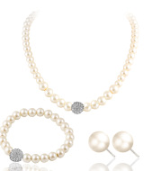 The new bride sweater chain necklace jewelry suite all-match diamond pearl necklace earrings bracelet set