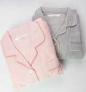 Spring and autumn ladies pajamas clothing Home Furnishing layer thick cotton yarn Muji striped shirt collar wind