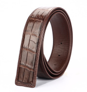 Crocodile leather belt, belly smooth buckle, single belt man business leisurebelt