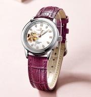 The new waterproof hollow clover belt automatic mechanical watches high-grade Diamond Ladies Watch female temperament