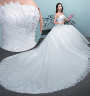 Aliexpress wedding bride wedding dress 2020 new large tail size wedding dress factory wholesale TH52