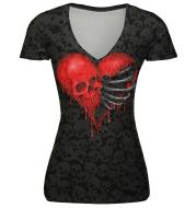 Halloween new head skull love digital printing T-shirt short sleeved female V collar breathable shirt blouse wholesale