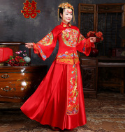 Chinese Traditional Embroidery Wedding Dress,Red Long Sleeve satin