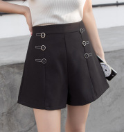 High waist Button Decoration Wide Leg Shorts