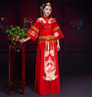 Chinese Handmade Embroidery,Bride Wedding Dress, Classical Chinese Wedding Dress
