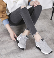 2020 new spring and summer thick Korean leisure sports shoes leather shoes increased ventilation net