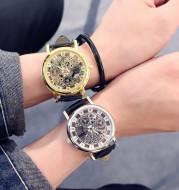 Korean fashion men watch waterproof genuine belt double sided hollow mechanical female students quartz lovers wrist watch