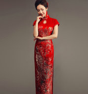 Embroidery Phoenix Bride Wedding Toast Cheongsam Chinese Gown