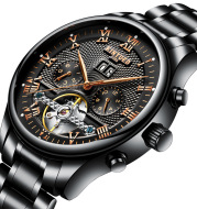 KINYUED Swiss Waterproof Black Tourbillon mechanical watch Automatic Mens Watch seeking agent