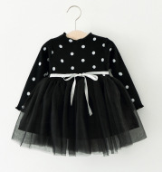 Foreign children 2021 years of foreign trade explosion of baby cotton long sleeved dress Korean Princess Dress Girls.