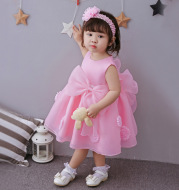 The spring and summer of 2021 years old female infant baby child Princess Dress Girls Dress Pink Flower Girl Dress Skirt