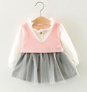 Foreign children 2021 autumn skirts for girls long sleeved cotton gauze skirt dress stitching infant Princess