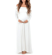 New European and American sexy fast selling eBay selling long sleeve pure color shoulder dress of pregnant woman