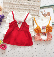 Female baby dress, spring and autumn girls, cotton princess skirt, children 0-1-2 years old baby skirt, autumn half year old