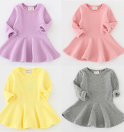 2020 spring and autumn new girl dress, pure cotton lotus leaf long sleeve bottoming skirt, children's skirt wholesale